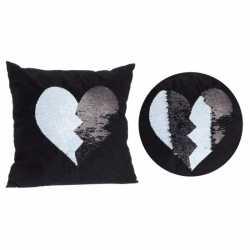 Zwart kussen zwart/witte omkeerbare pailletten 40 bij 40