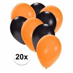 Zwart oranje halloween ballonnen 20 stuks