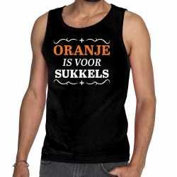 Zwart oranje is sukkels mouwloos shirt heren