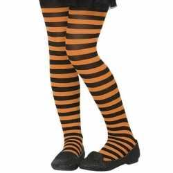 Zwart/oranje verkleed panty kinderen