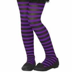 Zwart/paarse verkleed panty kinderen