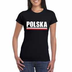 Zwart polen supporter t shirt dames
