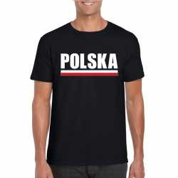 Zwart polen supporter t shirt heren
