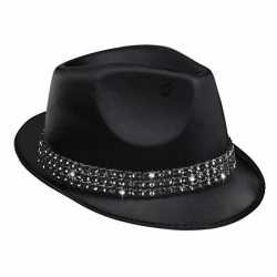 Zwart popstar hoedje diamant studs