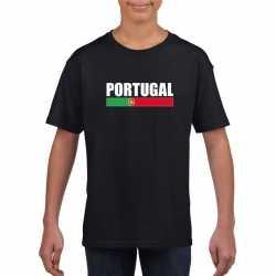 Zwart portugal supporter t shirt kinderen