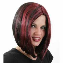 Zwart rode bob pruik dames