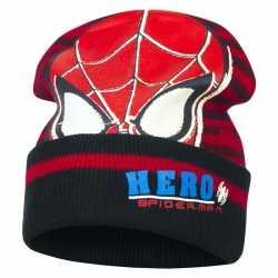 Zwart/rode spiderman muts jongens