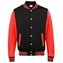 Zwart rood college jacket dames