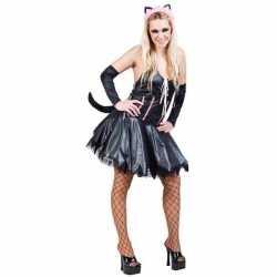 Zwart roze verkleedset kat/poes dames