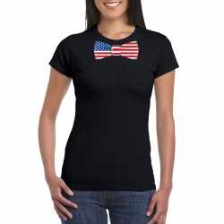 Zwart t shirt amerika vlag strikje dames
