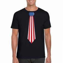 Zwart t shirt amerika vlag stropdas heren