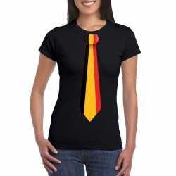 Zwart t shirt belgie vlag stropdas dames