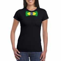 Zwart t shirt brazilie vlag strikje dames