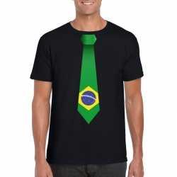 Zwart t shirt brazilie vlag stropdas heren