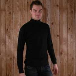 Zwart t-shirt col lange mouw heren