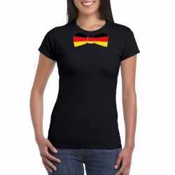 Zwart t shirt duitsland vlag strikje dames