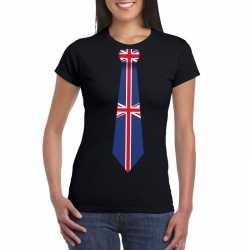 Zwart t shirt engeland vlag stropdas dames