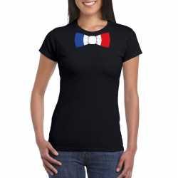 Zwart t shirt frankrijk vlag strikje dames