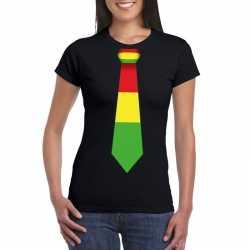 Zwart t shirt limburgse vlag stropdas dames