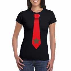 Zwart t shirt marokko vlag stropdas dames