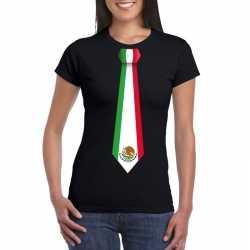 Zwart t shirt mexico vlag stropdas dames