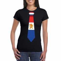 Zwart t shirt nederland vlag stropdas dames