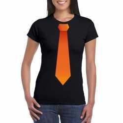 Zwart t shirt oranje stropdas dames