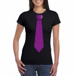 Zwart t shirt paarse stropdas dames
