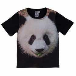 Zwart t shirt panda beer kinderen