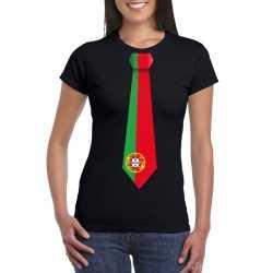 Zwart t shirt portugal vlag stropdas dames