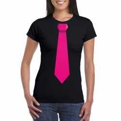 Zwart t shirt roze stropdas dames