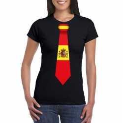Zwart t shirt spanje vlag stropdas dames
