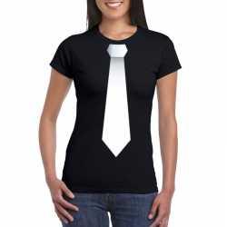 Zwart t shirt witte stropdas dames