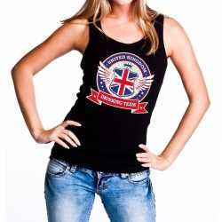Zwart united kingdom drinking team tanktop/mouwloos shirt dames