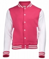 Roze wit college jacket dames
