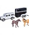 Speelauto zilveren land rover paardentrailer