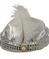 Sultan hoed zilver pluim