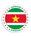 Suriname sticker rond 14 8