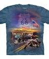 T shirt route 66 blauw