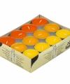 Theelichten 3 kleuren oranje 24 stuks