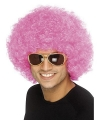 Toppers afro pruik roze