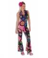Toppers dames disco jumpsuit gekleurd