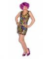 Toppers gekleurd disco jurkje dames