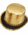 Toppers hoge hoed goud pailletten
