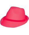 Trilby hoed neon roze van vilt
