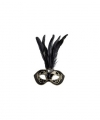 Venetiaans glitter oogmasker zwart veren