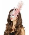 Venetiaans oogmasker roze zilver veer