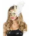 Venetiaans oogmasker wit goud veer