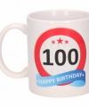 Verjaardag 100 jaar verkeersbord mok beker