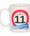 Verjaardag 11 jaar verkeersbord mok beker